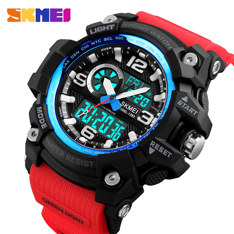 SKMEI Sport Watch Men Fashion Multi-function Chronograph 5Bar Waterproof Quartz Dual Display Wristwatches Relogio Masculino 1283