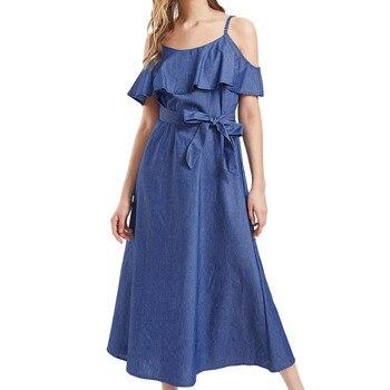 Casual Sleeveless Midi Denim Dresses