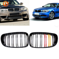 POSSBAY Gloss Black Red Yellow Front Bumper Grilles Grill for BMW 1 Series E87 120i/123d/130i/116d/ 5 door 2007 2011 Facelift