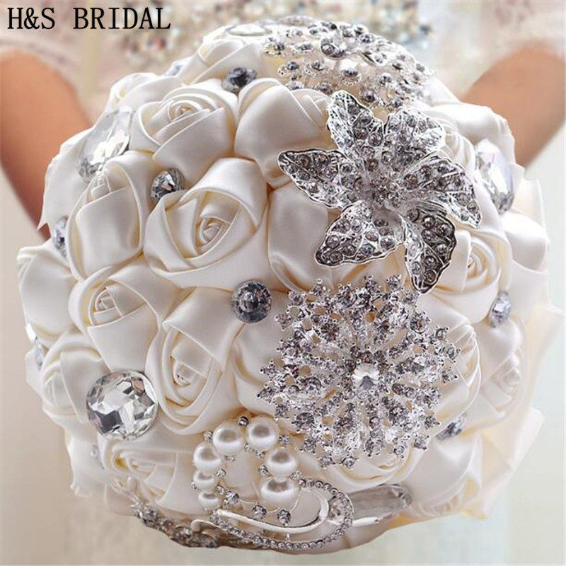 H&S Wedding Bouquet Satin Bridal Bouquet Hand Made Wedding Flower Rhinestone Bridesmaid Bouquet Crystal 2019 Bouquet De Mariage