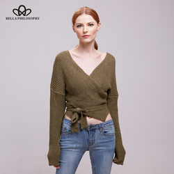 Bella philosophy 2017 women autumn winter new warp sashes v neck wool cotton sweater .jpg 250x250