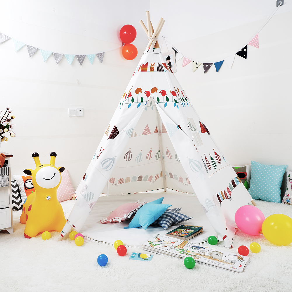 Kids Teepee Handcrafted Cotton Canvas Play Tent Cartoon Pattern Indoor Outdoor Kids Tipi Playhouse Little Girls