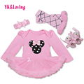 Cute Mouse Printed Baby Girl Tutu Dress Cotton Bodysuit + Headband + Legging + Shoes 4 Pcs Long Sleeve Infant Girls Clothing Set