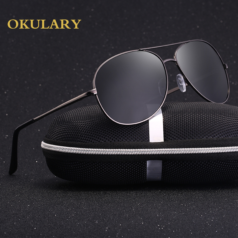 2018 Man Polarized Oval Sunglasses 3 Color Black Blue Yellow Metal Frame Free Shipping
