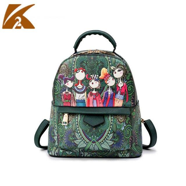 2a8e6160df 2018 Modern Girl Fashion Leather Bagpack Women Small Backpack Green Print  School Bags for Teenagers Travel Back Pack Bag Mochila