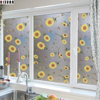 50 100cm Opaque Frosted Privacy Decorative Stained Glass Window Film Kitchen Sunflowers Self Adhesive Static Stickers