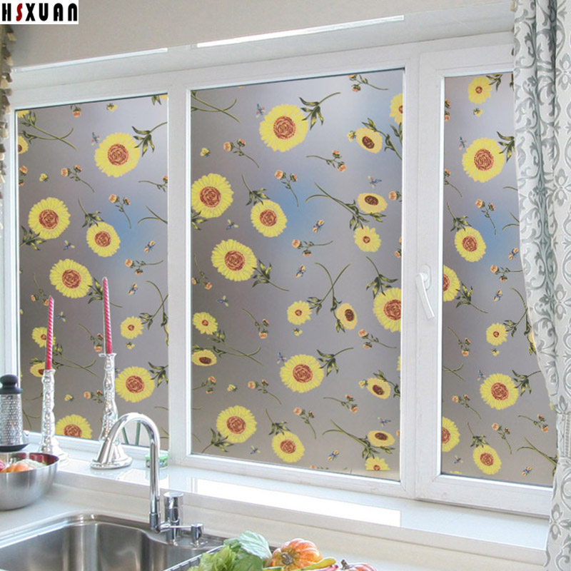 waterproof kitchen Decorative window stickers 50x100cm self adhesive removable tint glass static window film Hsxuan brand 500308
