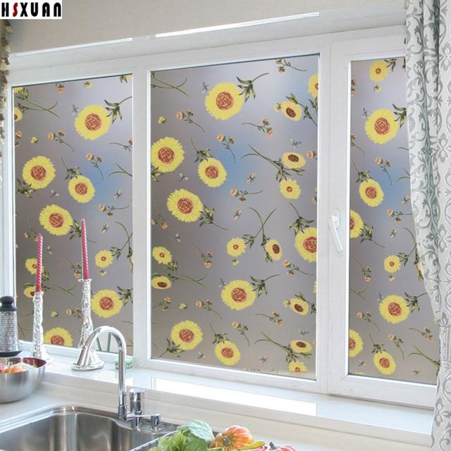 waterproof kitchen Decorative window stickers 50x100cm self adhesive  removable tint glass static window film Hsxuan brand