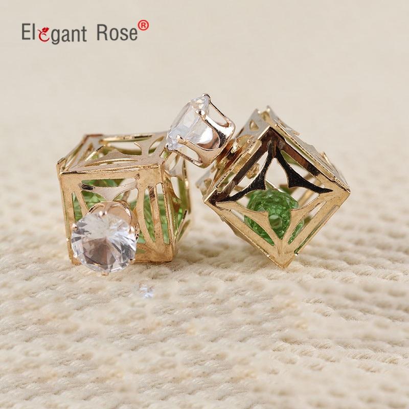 2016 Fashion Brincos Jewelry Gold Pated Aros Earrings Luxury Rhinestone Ball Double Sided Stud Earrings for Women Girl E1591