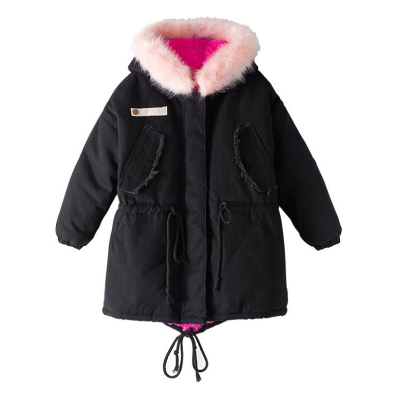 DFXD High Quality Korean Style Teen Girls Winter Soild Color Long Fur Collar Zipper Hooded Warm Outwear Children Down Coat 5-16Y