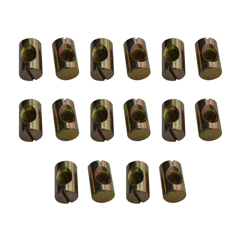 16Pack M8 Barrel Nuts Cross Dowels Slotted Nuts for Furniture Beds Crib Chairs ...