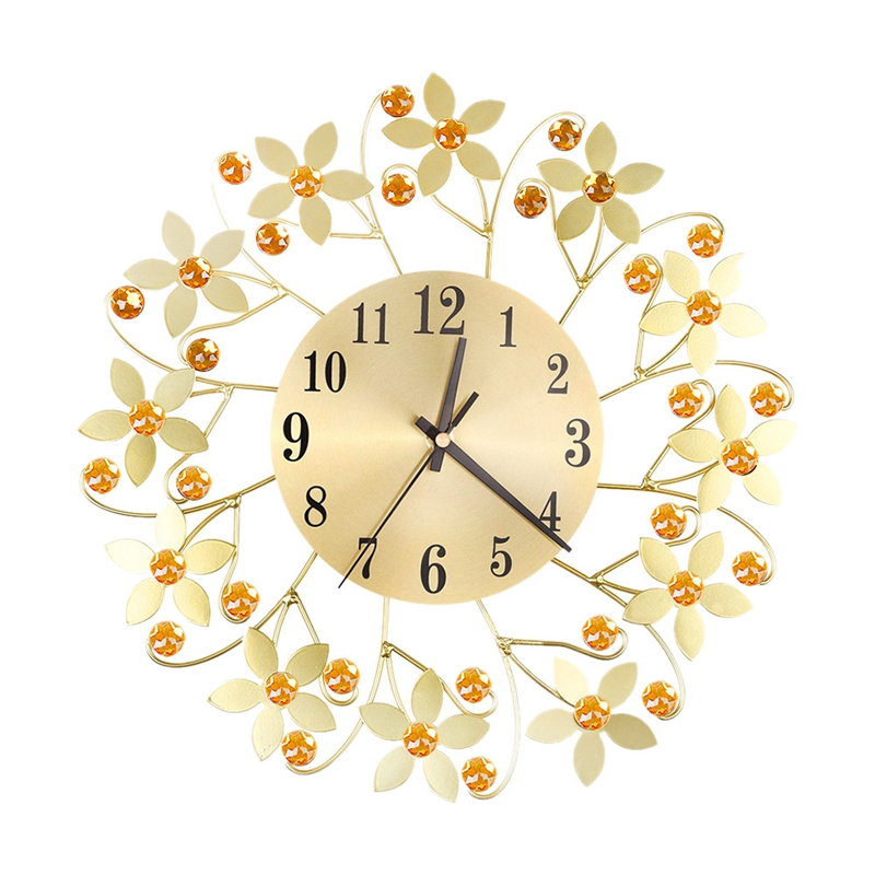 3D Wall Clock,Round Leaf Petals Metal Wall Clock, Dial With Arabic Numerals, Decorative Clock For Living Room, Bedroom, Office
