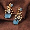 Мода Эмаль Глазурь Париж Любовник Синий Jewel Молнии Звезды Серьги Ногтя Уха Стиль Серьга