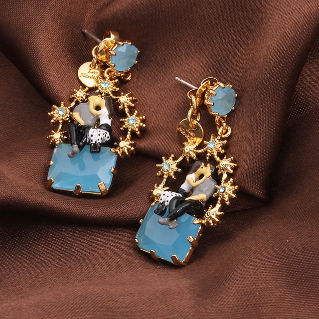 New Arrivals LES Nereides Fashion Romantic Enamel Glaze Paris Lover Blue Jewel Stars Earrings Gold Plated Crystal Jewelry