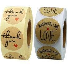 500PCS Thank You Stickers Scrapbooking DIY Gift Label Wedding Sticker Adhesive Kraft Paper Circular Heart-Shaped