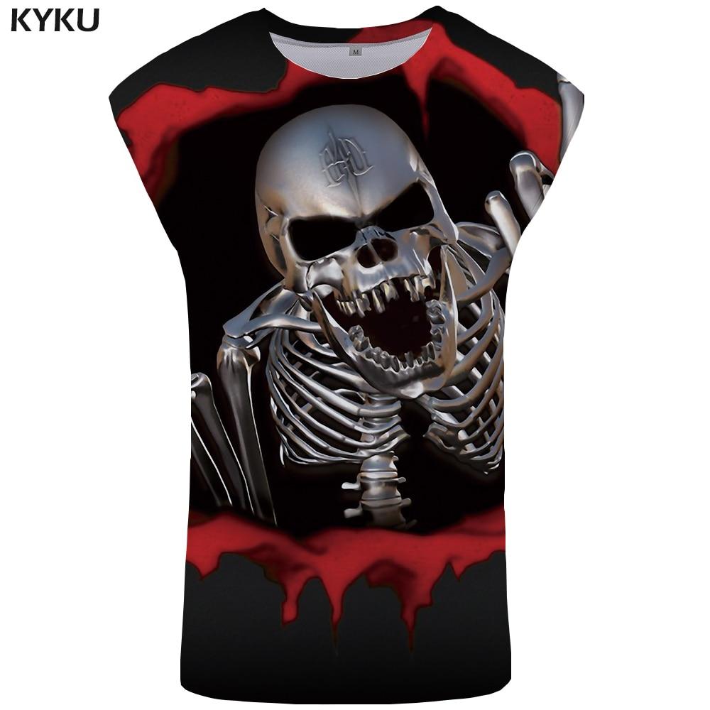 KYKU Skull Tank Top Men Punk Rock Singlet Ftness Mens Clothing Gothic Vest 3D Printed Tanktop Stringer Sleeveless Shirt 2018 New