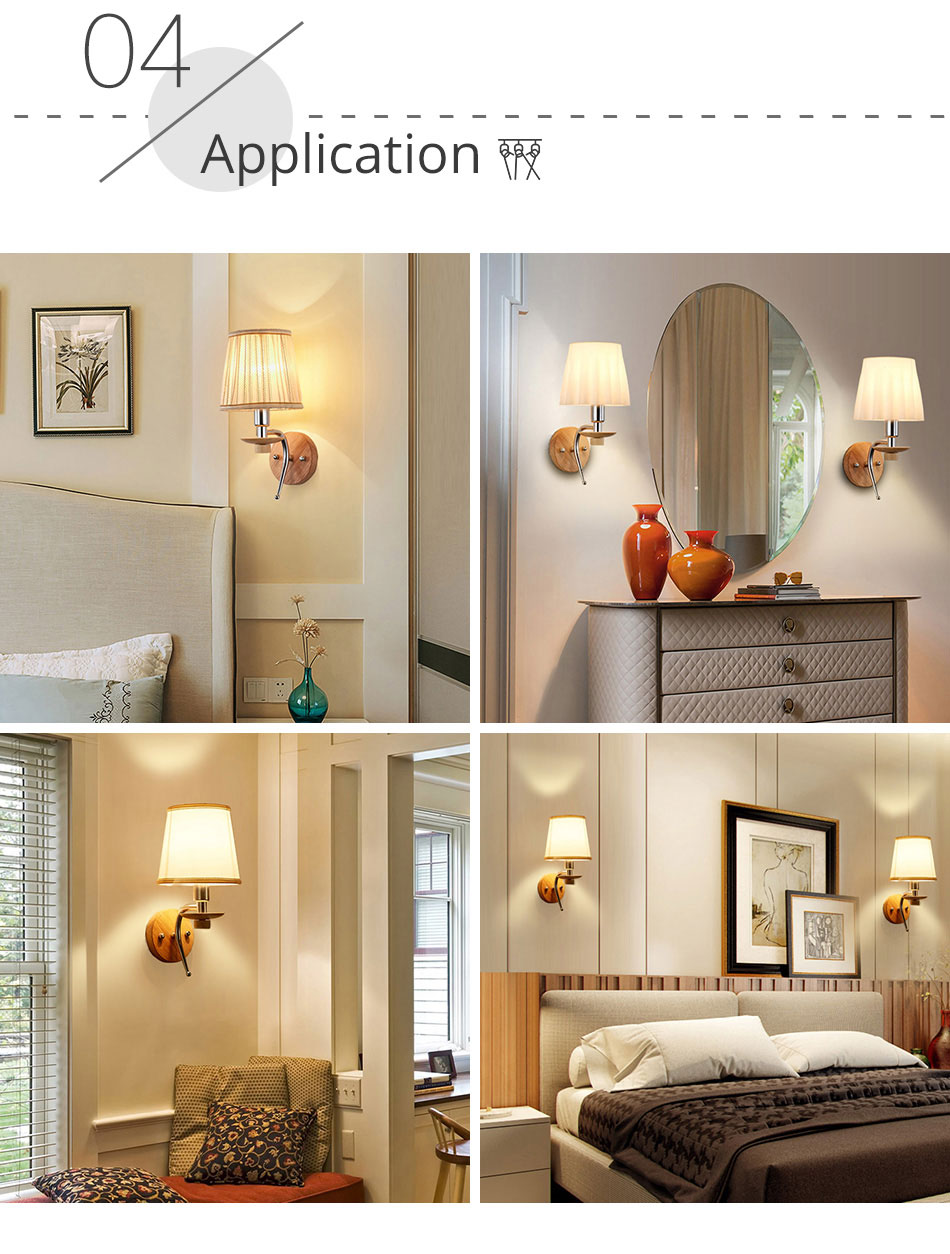 LED Bedside Wall Lamp E14 Bulb Fixtures Wood Aluminum Reading Light Fabric Glass wall Sconce Living Room Bedroom Indoor Lighting (12)