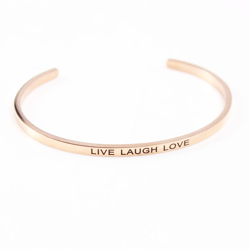 New Stainless Steel 3 2mm Band Bangle Engraved Positive Inspirational Quote Cuff bracelet Mantra Bracelet for Women in Bangles from Jewelry Accessories