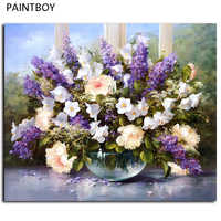 Hot Selling Flower Wall Painting DIY Painting By Numbers Framed Pictures Handwork Canvas Oil Painting Lavender Flower G053