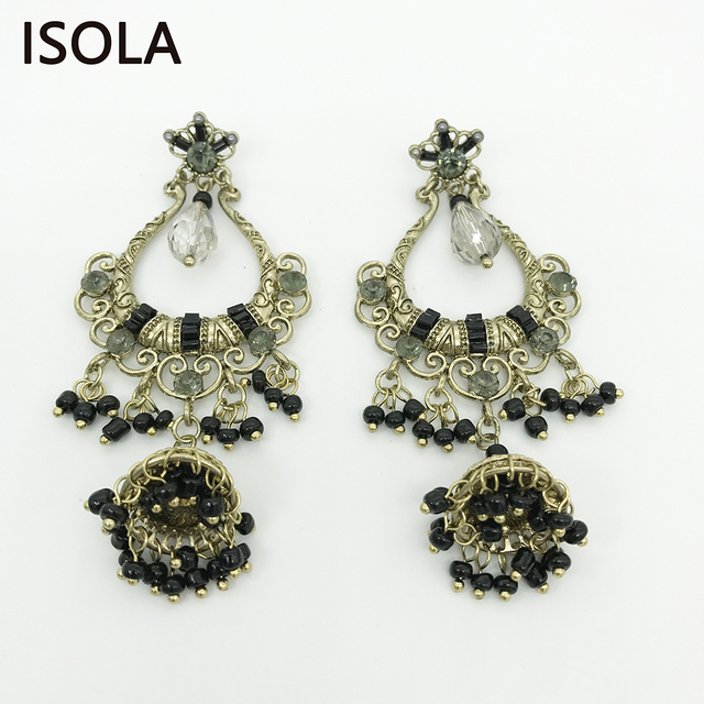 ISOLA Statement Charming Rhinestone India Style Vintage Chandelier Bell  Hanging Dangle Earrings Boho Earrings Jewelry For - ISOLA Statement Charming Rhinestone India Style Vintage Chandelier