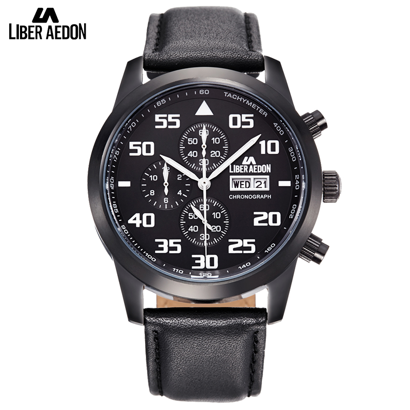 все цены на  Liber Aedon Black Leather Men Watches Classical Top Brand Luxury Casual Quartz Business Suit Multifunction Wristwatches for Men  в интернете