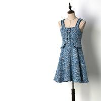 Super Beautiful Girls Sweet Ocean Blue Tassel Tweed Dresses 2019 Spring Women Holiday Spaghetti Strap Slash Neck Dress Y134