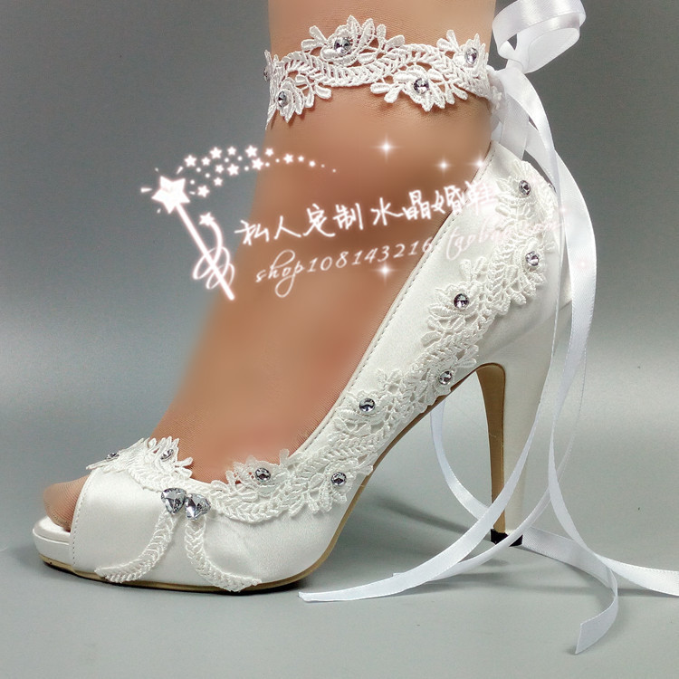 Women Shoes Peep Toe lace silk satin wedding crystal flowers bride wedding dress photography waterproof wristband