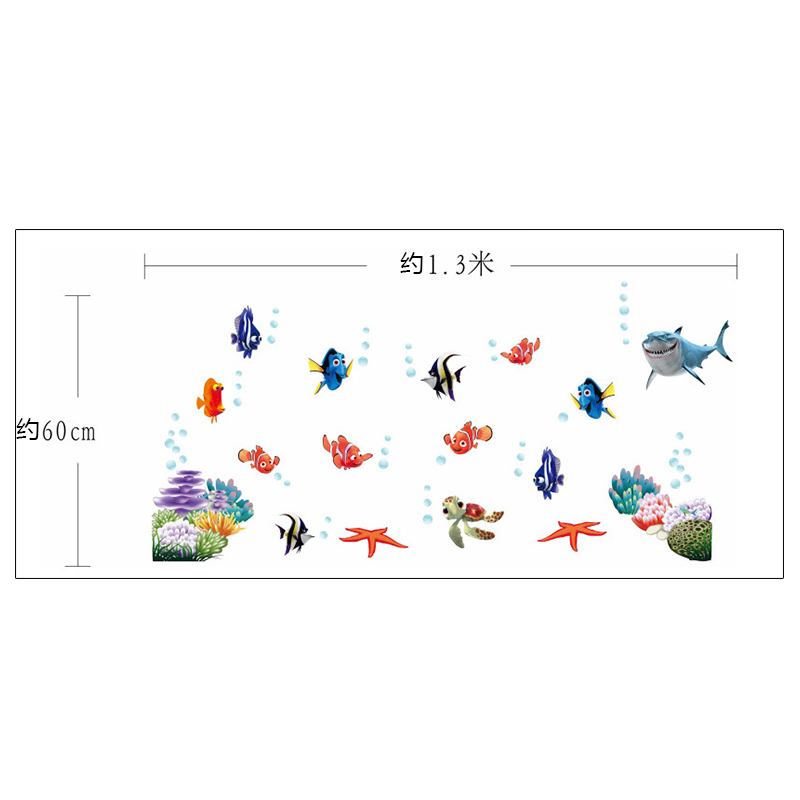 HTB14leiOVXXXXckapXXq6xXFXXXw - Wonderful Sea world colorful fish animals vinyl wall art window bathroom decor decoration wall stickers for nursery kids rooms