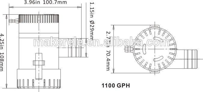 1100GPH 12 V 3A Hohe tauch Marine Elektrische bilgenpumpe ...
