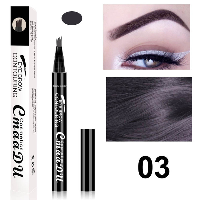 Cmaadu brand makeup liquid eyebrow pencil waterproof long lasting 4 fork tips black coffee microblading eyebrow tattoo pen HF117 4
