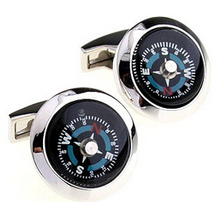 New Design Factory Price Retail Men's Cufflinks Copper Material Blue Colour Compass Design Enamel Cuff Links Free Shipping