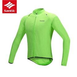 Odblaskowe oddychająca kurtki rowerowe jazda na rowerze z długim rękawem deszcz płaszcz przeciwdeszczowy mężczyźni jest Windcoat szybkie suche koszulka kurtka wiatroszczelna SANTIC