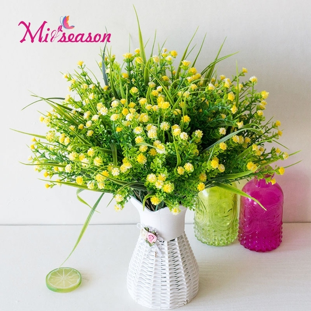 Miiseason Spring Mantianxing Green Grass Plants Artificial Flower
