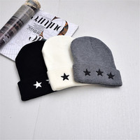 Embroidery Five-Pointed Star Mens Winter Hat Women Brand Warm Casual Knitted Hip Hop Caps Gorro Hat Female Skullies Beanies