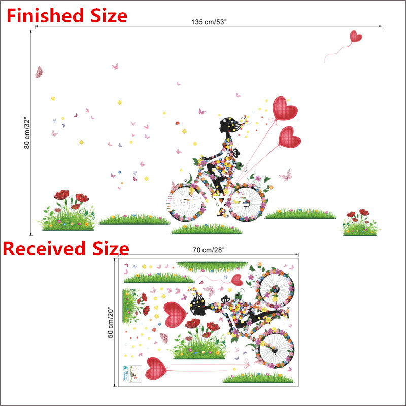 HTB14lfLPFXXXXarXVXXq6xXFXXXI - Charming Romantic Fairy Girl Wall Sticker For Kids Rooms Flower butterfly LOVE heart