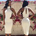 Fashion Women Sleeveless Bandage Bodycon Sexy Party white dress
