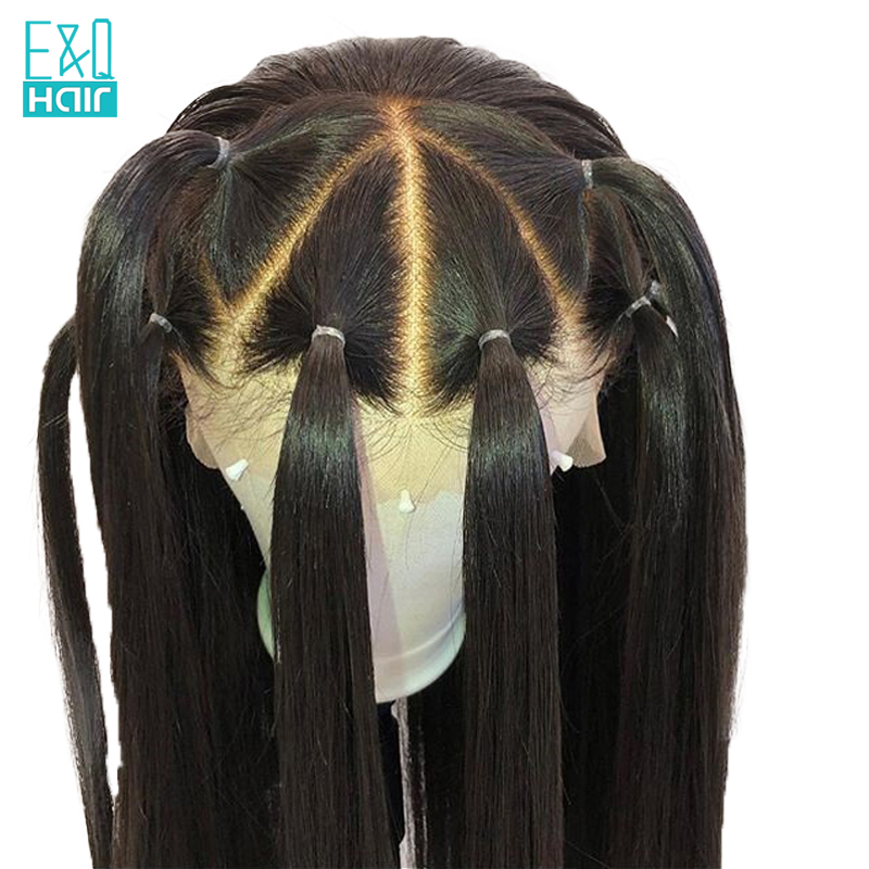 High Density 360 Natural Straight Lace Frontal Human Hair Wigs For Women Pre Plucked Hairline With