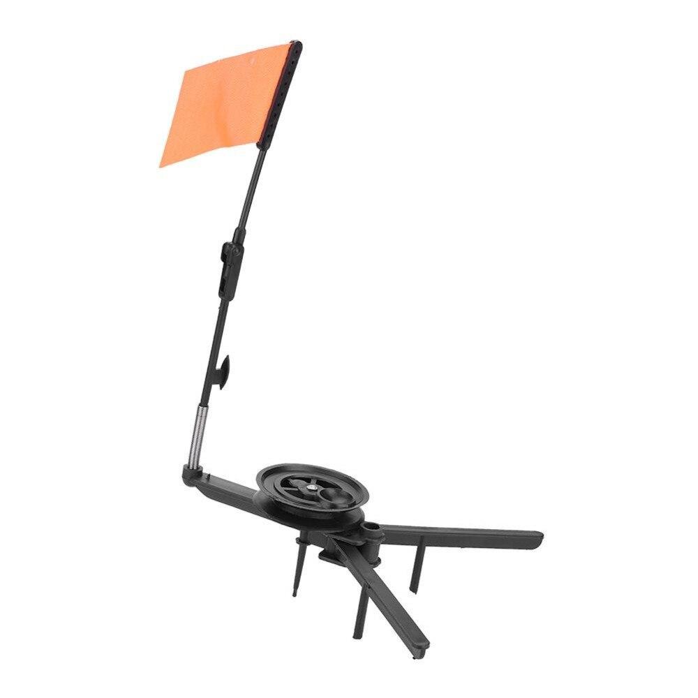 IceFishing Rod Tip-Up Compact Metal Pole Orange Flag Angler Fishing Tackle Tools