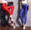 Mulheres leggings de lycra poliéster cores neon spandex leggings cintura alta estiramento magros brilhantes spandex leggings das mulheres preto vermelho