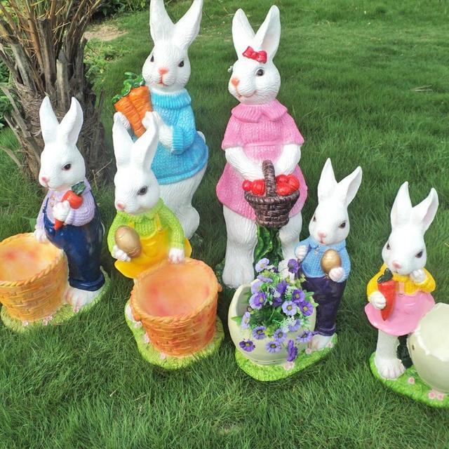 Jardín simulación animal conejo de la resina manualidades accesorios ...