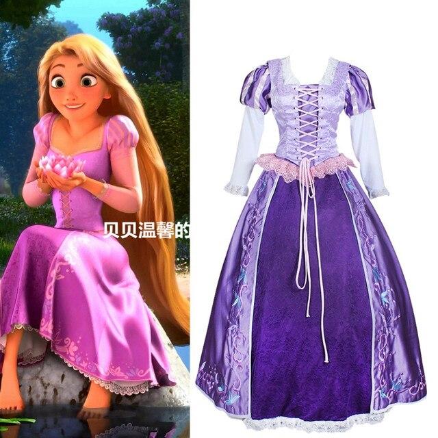 Delle Tangled Ricamo Adulti Halloween Ostumes Adulto Per Dress Vestito Costume Rapunzel Di Donne zqxwTzC