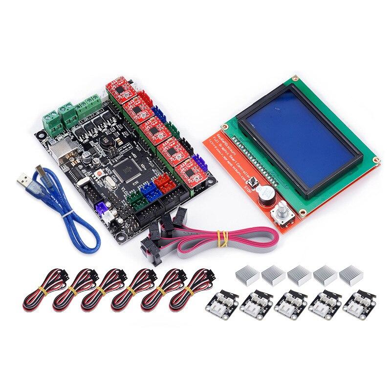 MKS Gen L v1.0 Integrated Mainboard Board Fit Ramps1.4/Mega2560 R3 +12864 LCD +5pcs A4988+Limit switch for diy 3d printer parts free shipping ramps 1 4 mega2560 r3 5pcs a4988 3pcs endstop 5pcs 4pin dupont heatsink