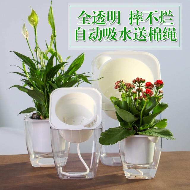 Marvelous Hydroponics Flower Pots Resin Transparent Square Lazy Flower Pots Automatic  Suction Basin Water Culture Green Radish