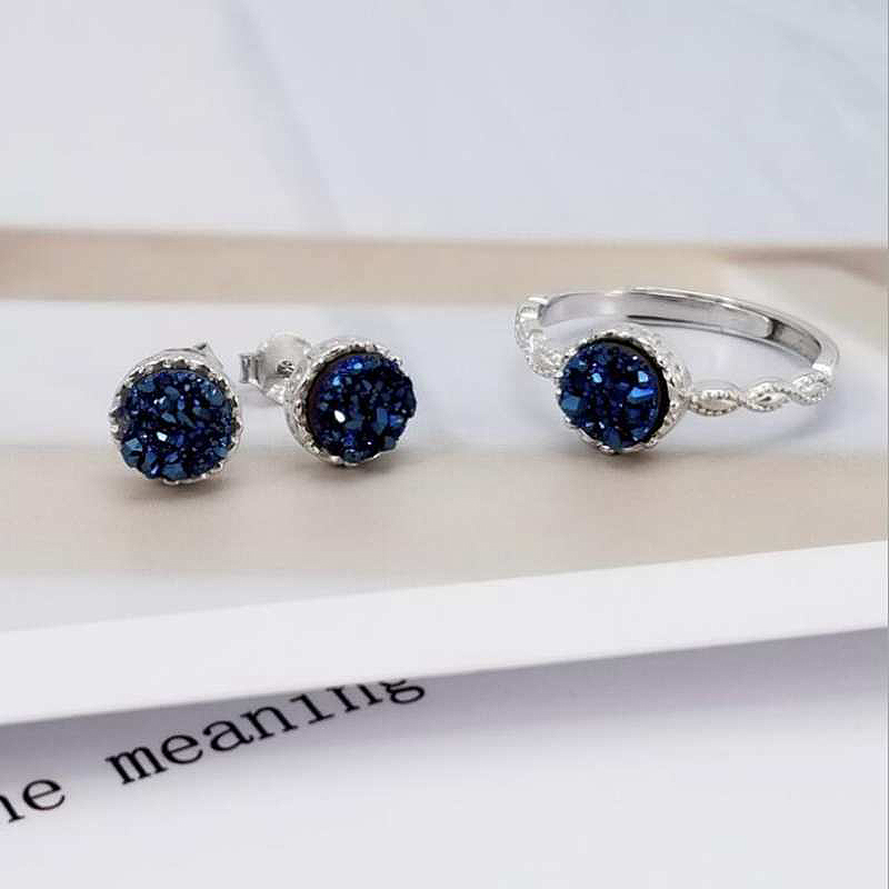 Ruifan Blue Round Natural Agate Druse Necklace Earrings Ring Sets 100 925 Sterling Silver Wedding Jewelry Set for Women YJS030 in Jewelry Sets from Jewelry Accessories