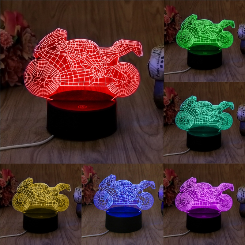 YAM Exquisite USB Novelty 7 Colors Changing Motorcycle LED Night Light 3D Desk Table Lamp