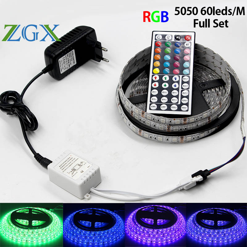 ZGX SMD RGB LED Strip light 5050 60led/M 5M 10M Decor indoor Flexible led tape ribbon lamp Waterproof 44Key DC12V adapter kit