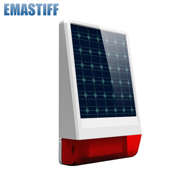New Arrival! Wireless 315mhz or 433mhz Outdoor big strobe Solar powered Siren with LED flashing response sound chooseable 130 dB