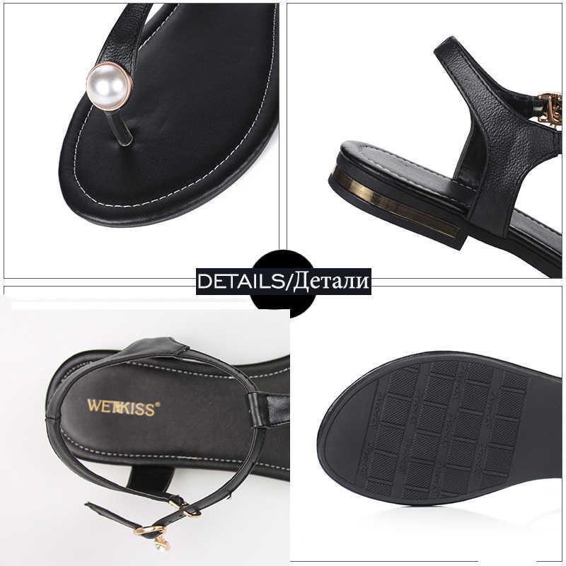 WETKISS Büyük Boy 33-43 Hakiki Deri Kadın Sandalet kadın ayakkabısı Kadın Flip Flop Yaz 2019 Düz Sandalet Bayan Ayakkabıları