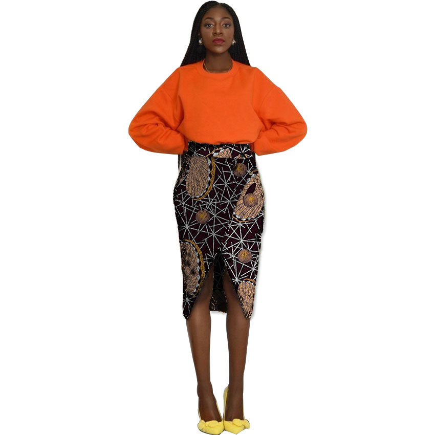 Retro Pattern Print African Skirt Womens Ankara Outfits Element Dashiki Skirts Africa Clothing Tailor Made For Wedding/Party