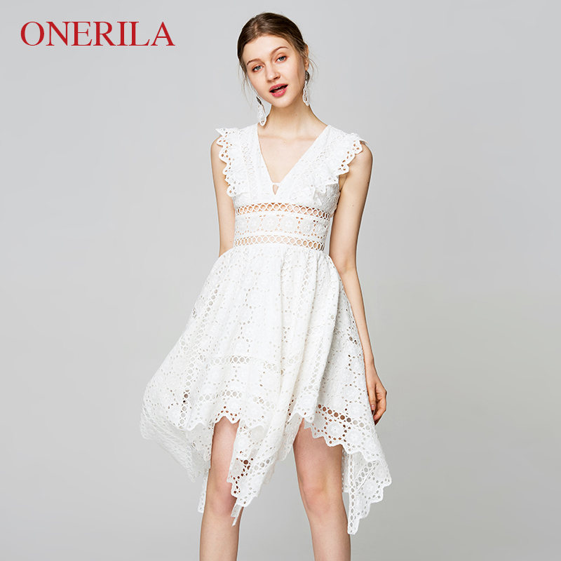 ONERILA Elegant Hollow Out Lace Dress Women Sleeveless Summer Style Midi White Dress 2018 Spring Short Club Beach Dress Vestidos